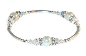 CLEAR-AB-Crystal-WHITE-Pearl-Bracelet-Bridal-Sterling-Silver-Swarovski-Elements