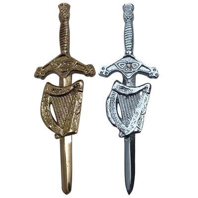 Celtic Irish Harp Kilt Pin Chrome Finish//Irish Harp Kilt Pin//Celtic Kilt Pin Harp