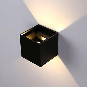 Applique-a-cubo-con-LED-2700K-Bianco-Caldo-Lampada-di-Colore-Nero-da-parete