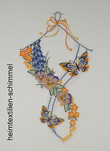 Plauener Dentelle ® Fensterbild Printemps Fensterdeko Papillons été Fleur-afficher Le Titre D'origine
