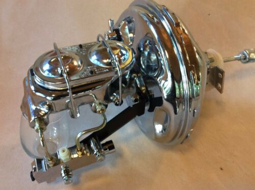 "1968-74 Chevy Nova 11/"" chrome power brake booster master cyl 4 wheel disc"