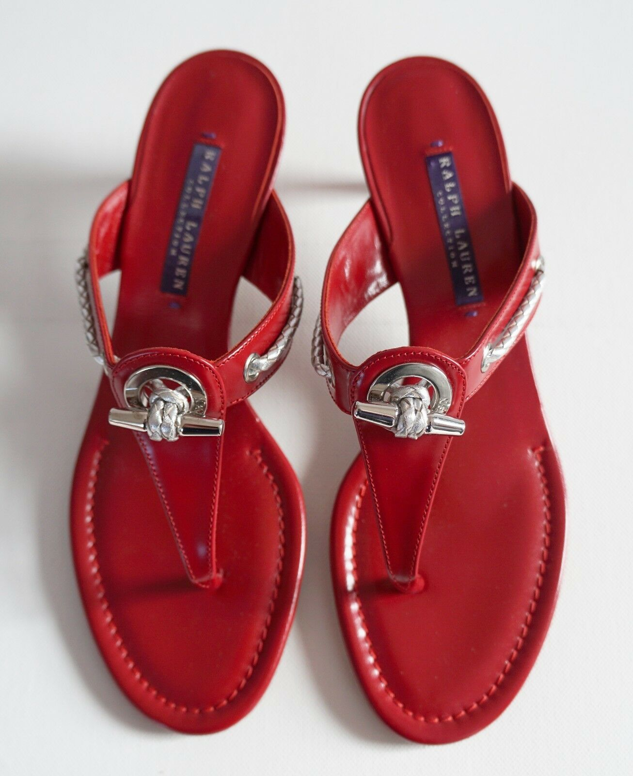 RALPH LAUREN COLLECTION Red Leather Kitten Heel Sandals Heels Slides US-9B EU-39
