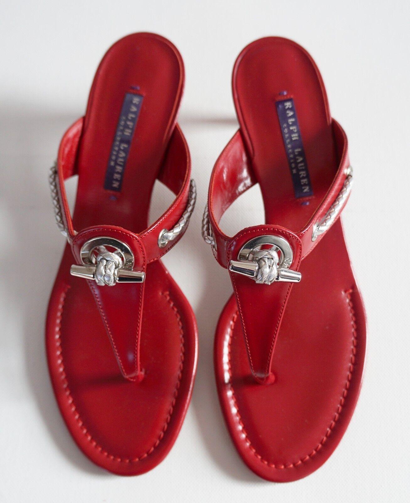 tempo libero RALPH LAUREN COLLECTION rosso Leather Kitten Heel Heel Heel Sandals Heels Slides US-9B EU-39  più ordine