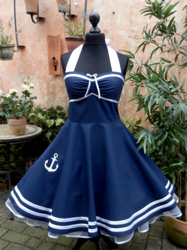 50er PETTICOAT Rockabilly SAILOR Marina Nautic ancoraggio abito dress 34-54 Maritim