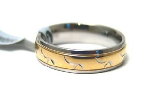 Hypoallergenic-Ring-Gold-PVD-316L-Surgical-Steel-6-mm-New-Size-6