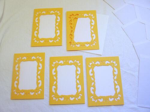 15teilig goldgelbe Grußkarten mit Passepartout zum Fertigstellen Handarbeit