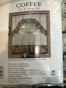 Details about NWT Coffee Tier & Swag Curtains Set Brown White Beans Cups  Mocha Kitchen