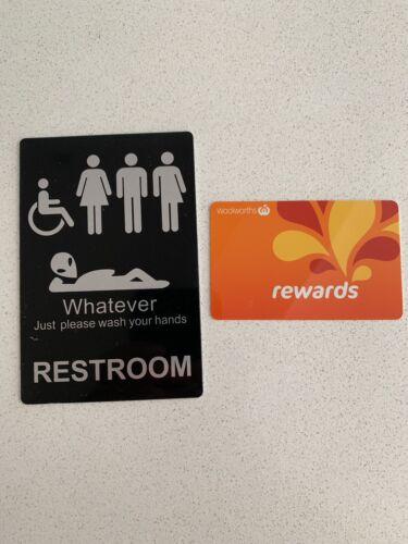 Pub Restaurant Toilet And Restroom Door Sign Unisex Self Adhesive Au Stock