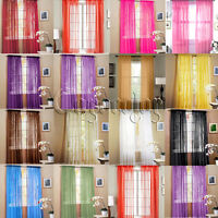 "2 Solid Sheer Window Panel Curtains Drape Voile Treatment Scarf 60""X84"" Colors"