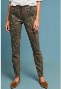 Anthropologie-Olive-Green-Multicolor-Geometric-Cadet-Utility-Pants-Women-s-26T
