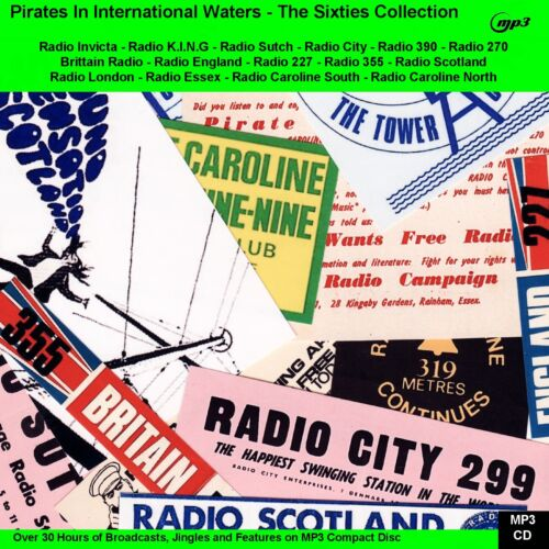 PIRATE RADIO THE 60s 70s & 80s Collection 110hrs NOW on 3 x Car Friendly  MP3 CD