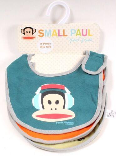 Small Paul by Paul Frank 3 Piece Bib Set for Boys 100/% Cotton Rockstar Monkey