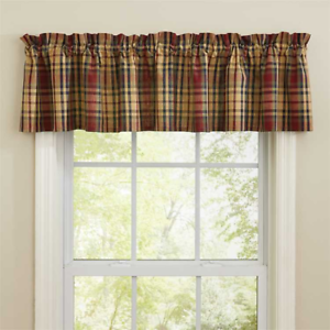 Prim-Mustard-Navy-Red-Green-Plaid-Unlined-Valance-72-034-W-x-14-034-L-SOUTH-RIVER