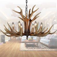 Large Vintage Chandelier Resin 6 Light Deer Horn Antique Chandeliers Retro Style