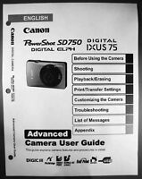 Canon Powershot Sd750 Ixus 75 Digital Camera User Guide Instruction Manual