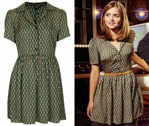 Topshop Cosplay Green Black Silky Tile Print Piped Shirt Dress Size 8