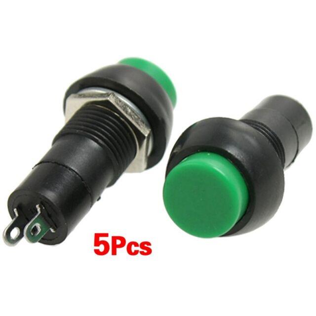 5pzs Interruptor pulsador momentaneo SPST OFF-(ON) de tapon verde N/O AC 250V K4
