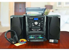 Encore Shelf Stereo System with Turntable, 3-CD, Radio and Dual Cassette Player