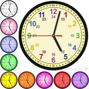 223-Kinder-Wanduhr-gt-Lernuhr-lt-10-Farben-lautloses-Uhrwerk-Kindergarten