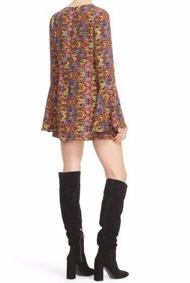 FREE PEOPLE 'OSSIE VIBES' BELL SLEEVE  PRINT TUNIC DRESS - Size 2