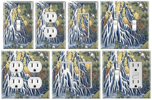 Ukiyoe Waterfall Hokusai Graphics Art Toggle//Rocker//GFCI//Outlet Wall Plate