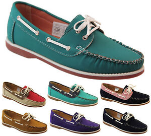 Ladies-Shoreside-Deck-Shoes-Lace-Up-Pumps-Boat-Moccasins-Flats-Sz-Size-4-5-6-7-8