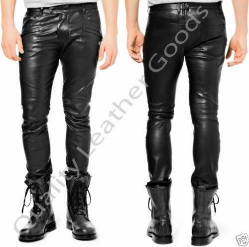 MENS SYNTHETIC LEATHER JEANS THIGH FIT LUXURY PANTS TROUSERS XL 42 3.1 CS