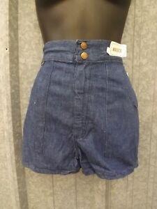 NOS-True-Vtg-1970s-Indigo-100-Cotton-HIGH-WAISTED-DENIM-SHORTS-Sz-9-10-Waist-26