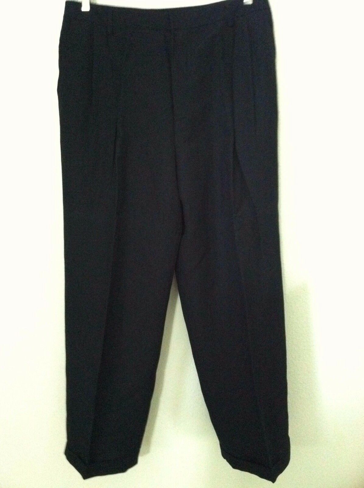 New Linda Ellen Tracy 16 damen pant navy Blau linen blen trouser pleat cuff  228