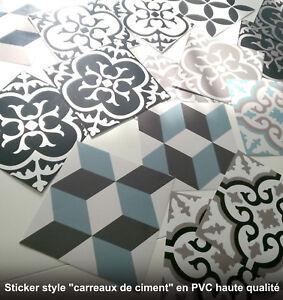 Sticker autocollant muraux carreau de ciment 15x15cm pour - Stickers pour carrelage mural cuisine ...