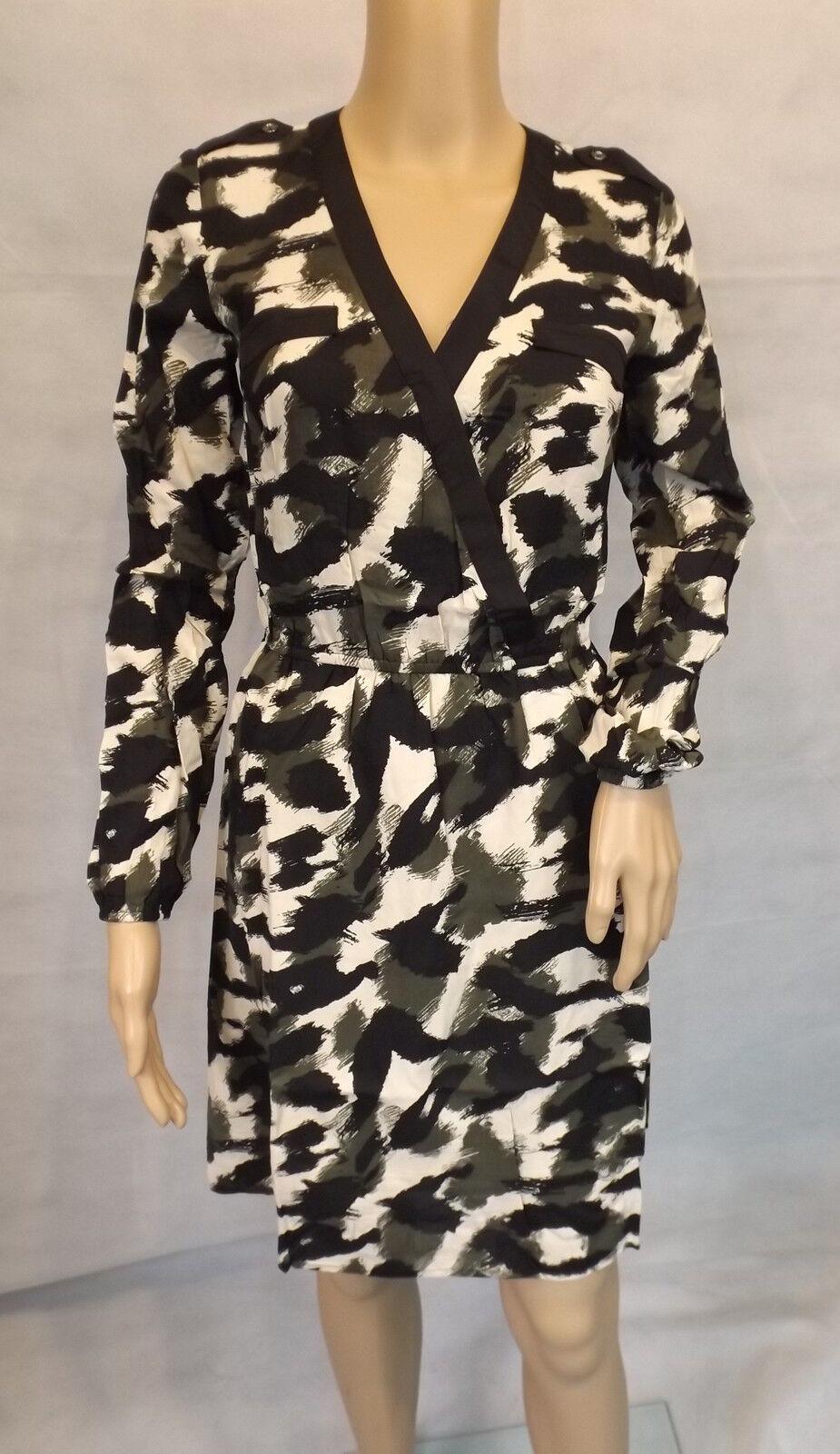 MANDARIN   38  Auffälliges Kleid langarm  Khaki weiss schwarz  Wickeloptik