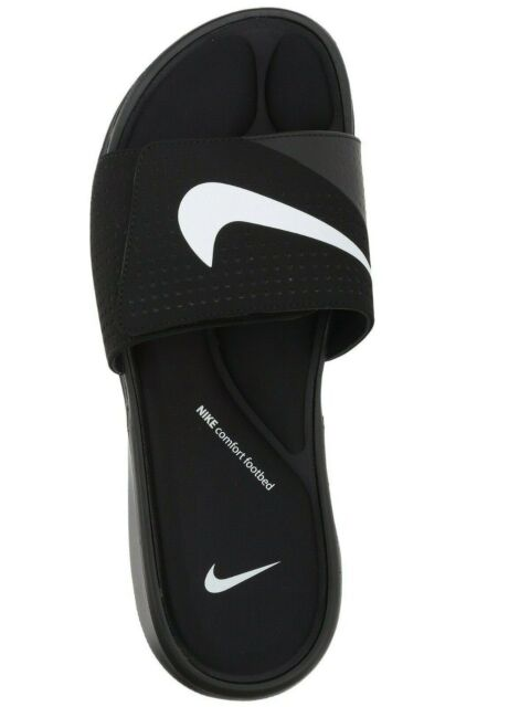 bb590e3b0be4 Nike Ultra Comfort Slide Mens 882687-003 Black White Logo Slides ...