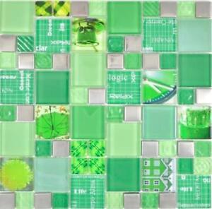 Détails sur Carreaux Mosaïque Miroir Glasmosaik argent vert Mur Cuisine  Salle de Bain 88-0517_f 10 Tapis- afficher le titre d\'origine
