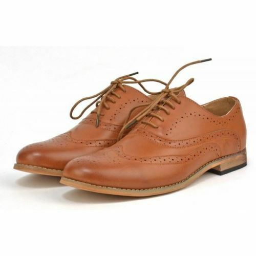 S371 - Men's Tan Brogues Smart Formal Lace Up Wedding Office shoes - UK 10 & 11