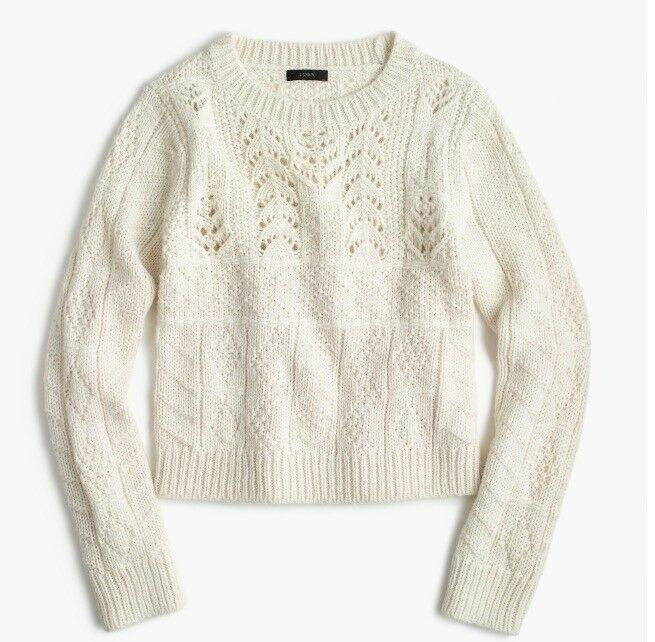 J.Crew Women's 1988 cableknit cableknit cableknit sweater  Item  H3912  color  HTHR IVORY  Size  M c9d01e