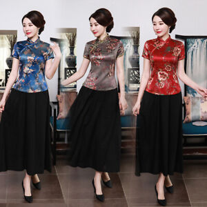 Chinese-Traditional-Tops-Women-Silk-Shirt-Summer-Blouse-Size-M-4XL