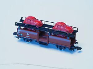 Marklin-Z-Scale-Train-Auto-transport-car-with-4-Citroen-CV2-cars-in-metal