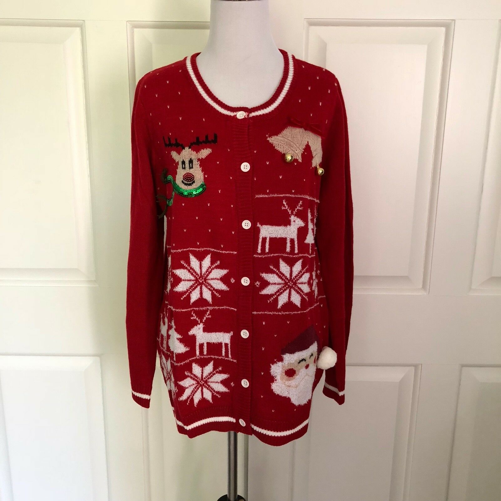 NWT ERIKA UGLY CHRISTMAS SWEATER CARDIGAN BUTTON DOWN RED WHITE MEDIUM & LARGE