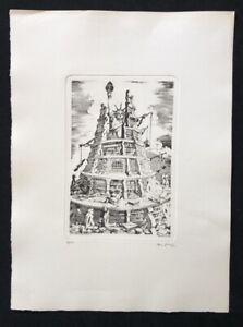 Franz Deck scherzo, di tutela della libertà, acquaforte 1960, firmato a mano