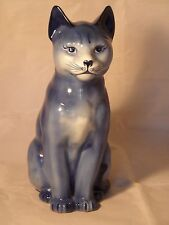 """Large Blue Pottery Cat Figure Hand Painted 9 3/4"""" ( 25cm ) High Good Condition"""