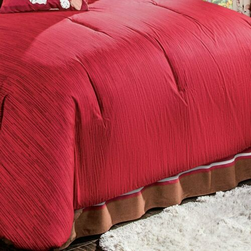 Azucena Floral Brown with Red Cotton Comforter Set and Sheet Set by Intima Hogar