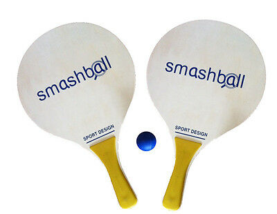 NEW Original Wood Smashball Beach Tennis Set, 2 Paddles 1 Ball FreeShip