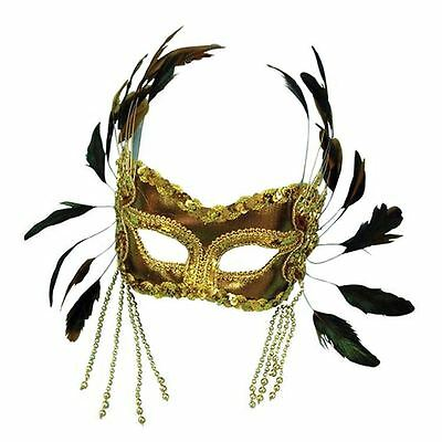 Adults Gold Feather Eye Mask Christmas Masquerade Ball X-Mas Face Fancy Dress