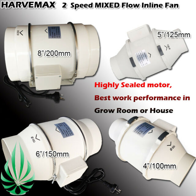 "HARVEMAX Low Noise 2 Speed Inline Duct Exhaust Fan 4"" - 8"" Extractor Air Blower"