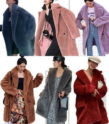 Details about Luxury Celebrity Women Teddy Bear Feel Oversized 100% Wool Fur Long Coat