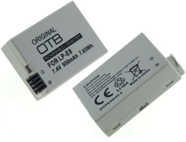 950mAh LI-ION Batería para Canon LP-E8 / LPE8 EOS 550D Cámara Digital