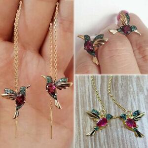 Hummingbird Earrings Stud Threader Long Drop Tassel Crystal Dangle