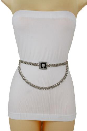 Women Fashion Belt Waistband Silver Metal Chain Links Bling Lion Buckle XS S M