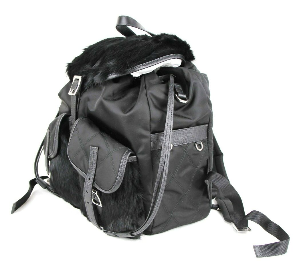 Prada Black Fur and Nylon Backpack with 2 Front Pockets and Pull Strings 1BZ018    eBay