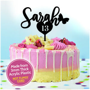 Pleasing Custom Birthday Cake Topper Decoration Any Name And Any Age Heart Personalised Birthday Cards Veneteletsinfo